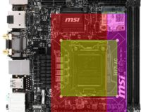 Brocken 2 blocks the PCIE slot. So the MSI board is out.